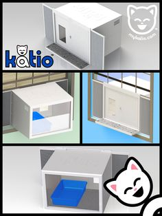 Litter Box Problems Go Out the Window with Katio™. The kitty litter box that goes in your window – just like an A/C unit. #kitty #cats #patio http://mykatio.com