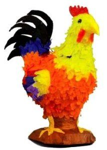 "Rooster Pinata by Aztec Imports. $20.99. Fill with candy and toys (sold separately) to play the pinata party game.. Suggested for 8 kids. Dimensions: 22x20x10"". Perfect for farm themed parties. This colorful rooster pinata is great for farm themed parties. Use this pinata either as a decoration or as a fun party game. Dimensions: 22x20x10"