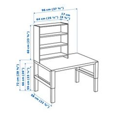 IKEA - PÅHL, Desk with shelf unit, white, , This desk is designed to grow with your child, thanks to the three different heights.The desk is easily adjusted to 59, 66 or 72 cm by using the knobs on the legs.You can keep cables and extension cords organised by placing them in the cable holders between the front and back legs.Choose an expression to suit your home and style by turning either the green or white side of the back panel outwards.