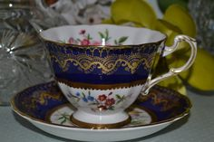 Paragon Blue and Gold Footed Vintage Teacup and by TheTeacupAttic