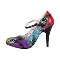 T.U.K. Shoes Black with Multi Color Peacock Feather Sky Hi Heels found on Polyvore