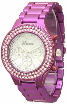 """456 Women's Geneva Purple Boyfriend Style Watch w/ Rhinestones Exquisite Collections. $10.99. Metal watch. Dial 1.5"""" wide. Quartz movement with analogue-display. Round face. Clasp"""
