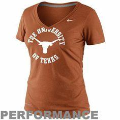 Nike Texas Longhorns Dri-FIT Ladies School Stamp Legend Performance V-Neck T-Shirt - Burnt Orange