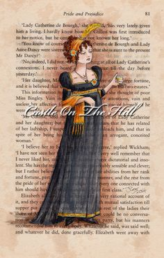 Caroline Bingley  #JaneAusten #PrideandPrejudice by CastleOnTheHill on #Etsy, $48.00 #painting #art #fashion #regency