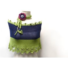 Hand Knit Color Block Cotton Capelet Shrug with Crochet Lace Lime... (€35) ❤ liked on Polyvore