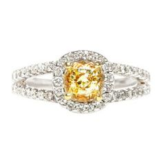 Fancy Yellow Diamond Contemporary Engagement Ring