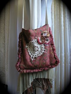 Upcycled Hippie Bag, handmade eco friendly, thick pillow fabric fringe, bohemian earth tones. $65.00, via Etsy.