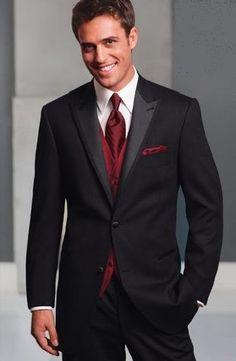 Black tux with burgundy tie by Freeman Tuxedo Wedding, Red Wedding, Wedding Suits, Wedding Attire, Wedding Ideas, Fall Wedding, Wedding Flowers, Groomsmen Attire Black, Bridesmaids And Groomsmen