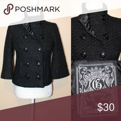 GUESS Black cropped peacoat Black Peacoat with metallic threads Beautiful coat I wish it fit me I am in love with this coat Guess Jackets & Coats Pea Coats