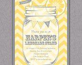 Mason Jar and Chevrons Invitation Printable - Pink Lemonade Party - Bunting - Lemonade Stand Birthday Party Invite - Bridal Shower -. $15.00, via Etsy.
