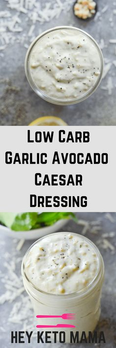 This Low Carb Garlic Avocado Caesar Dressing is a beautiful, quick, and easy way to dress any of your low carb salads! | heyketomama.com