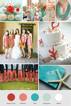 coral, teal, white. Found on Weddingbee.com Share your inspiration today!