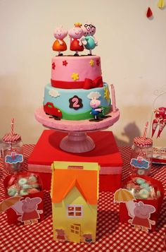 Awesome cake at a Peppa Pig birthday party! See more party planning ideas at CatchMyParty.com!