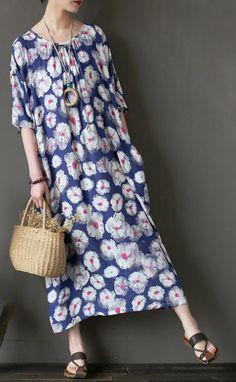 af55e47514e New silk linen maxi dress trendy plus size Loose Short Sleeve Dots Printed  Round Neck Dress