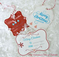 Simple red, white and turquoise Christmas gift tags complements of My Uncommon Slice of Suburbia