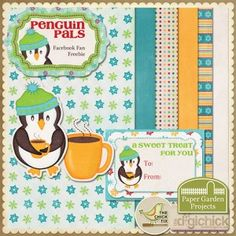 Cathrine St. Clair - Paper Garden Projects - Free Penguin Pals Digital Scrapbook Mini-kit