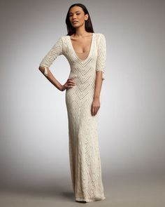Crochet gown /  Maxi dress with zigzag pattern