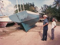 Boat being pulled to beach. Mr. Guerrero orders his tools and fittings for each boat from the United States. During the month or so that it takes for that hardware to arrive, he goes to Little Belize, or as far as Spanish Lookout in Orange Walk District to find the lumber that is needed. The lumber is brought to Sarteneja where it is set up to dry.  Materials needed include: LumberBoat clayCircular saw NailsGrinderElectric drill Caulking, paint, etc.