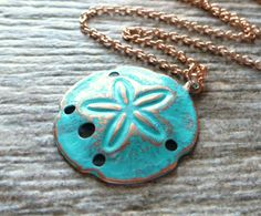 Rose Gold Sand Dollar Ocean Necklace Teal Patina by JBMDesigns