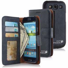 Golden Phoenix Samsung Galaxy S3 Handyhülle Royal Wallet-Case Wildleder schwarz