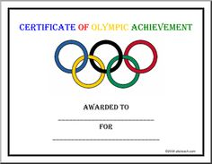 "Certificate: Olympics - ""Certificate of Olympic Achievement awarded to __ for __."" With the Olympic rings in outline."
