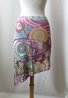 Sale size S Mini Flower purple chaos skirt Boho by SolmodeDesign