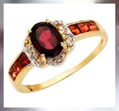 Garnet,Diamond's & 9kt Yellow Gold - Beautiful & Elegant GEMSTONE JEWELLERY