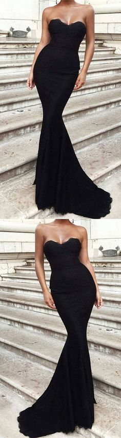 Black Lace Sweetheart Corset Mermaid Prom Dresses 2018 Formal Evening Gowns M3550