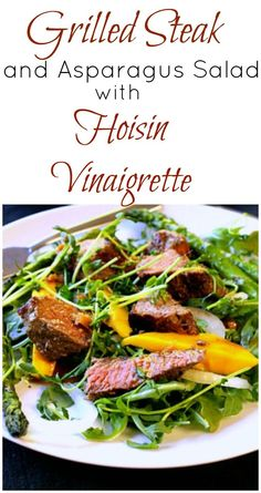 A healthy entree salad recipe with Grilled Steak and Asparagus. Full of flavor with an over the top new vinaigrette find. This hoisin dressing with ginger and Dijon is sure to impress anyone. via @lannisam