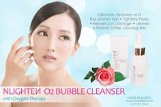 NLIGHTEN BUBBLE CLEANSER 버블 클렌저) cleans, hydrates and rejuvenates the skin with the revolutionary skin care technology of oxygen therapy. Nlighten Products, Cleanser, Moisturizer, Tighten Pores, Lighten Skin, Facial Cream, Skin Tightening, Glowing Skin, Whitening