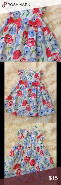 First Impressions Baby 24m Pink Blue Floral NWT Adorable pink and blue floral dress in size 24 months, new with tags. Pink bows on front. Buttons down back. Pair with adorable Janie and Jack hat I am selling in separate listing. Bundle and save! ;) First Impressions Dresses