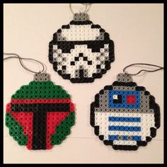 Star Wars Christmas Ball Ornaments perler beads by K8BitHero. My dad is such a startwars nerd. will def. be making some of these for him !
