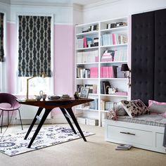 Garden office with white trestle desk | Small home office design ideas | housetohome.co.uk