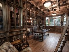 """Jim Cardon's Stunning Custom Built Library, Inspired by """"The Illusionist"""" - Library Study Room, Future Library, Dream Library, Study Office, Study Rooms, Attic Library, Study Areas, The Illusionist, Steampunk House"""