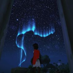 A screenshot from RiME showing the playable character beneath the northern lights