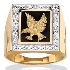 big sale 7f7f5 58ae9 Men s Diamond Accented Genuine Onyx Eagle Ring in 18k Yellow Gold over  Sterling Silver, Size