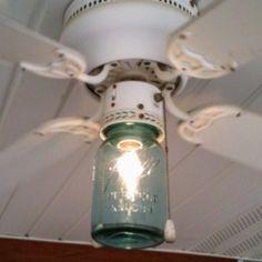 Use the tinting the mason jar pin with this… Ceiling Fan Blade Covers, Ceiling Fan Blades, Ceiling Fans, Mason Jar Lighting, Mason Jar Lamp, Kitchen Lighting, Fan Light Covers, Ceiling Fan Makeover, Fan Light Kits