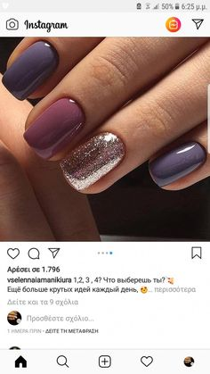 Shades of purple with gold accent nail. Related posts: best nails Dusseldorf photos # nail Hybrid Nail Art Manicure with Floral Accent Nail for Spring 2019 … Elegant Nails with Silver Glitter Accent Nail Florr's Heart Nail Designs Fancy Nails, My Nails, Shellac Nails, Gel Nails For Fall, Gold Gel Nails, Gel Polish Manicure, Stiletto Nails, Hair And Nails, Gorgeous Nails