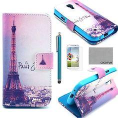 coco fun ® eiffel nacht patroon pu lederen tas met een screen protector, stylus en staan voor samsung galaxy s4 mini i9190 – EUR € 7.35