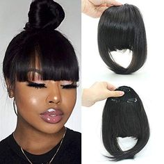 Clip on Bangs with Temples - Neat Bangs / Black