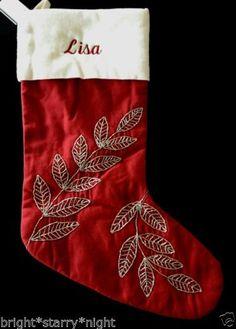 Pottery Barn Beaded Jewel Leaf Red Christmas Stocking Lisa New Garland Glitter | eBay