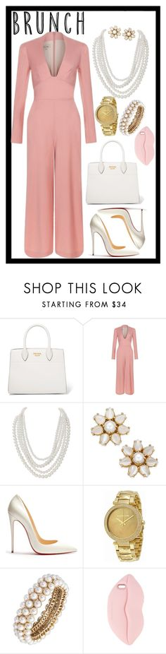 """""""Blush🎀"""" by pretty-sassy ❤ liked on Polyvore featuring Prada, Temperley London, Humble Chic, Kate Spade, Christian Louboutin, Michael Kors, Anne Klein, STELLA McCARTNEY, blush and jumpsuit"""