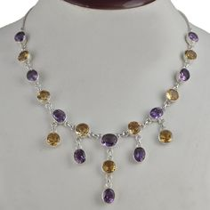 FOR SELL CITRINE & AMETHYST 925 SOLID SILVER LATEST STYLE NECKLACE 27.36g NK0078 #Handmade #NECKLACE
