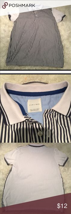 Zara Man shirt Size XL This fits like an CL slim - I feel would fit a large well too. No rips or stains. Good shape. Dark blue and white. Back is plain white. Bundling is fun; check out my other items! No price talk in comments. No trades or holds. Zara Shirts Polos