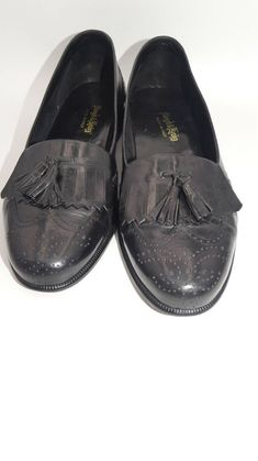 81f4553ee68 Lloyd  amp  Haig Men s Wingtip Tassel Loafers Black Leather Brogue Slip On  Shoe 10 M