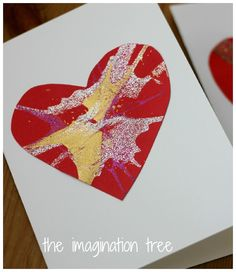 These gorgeous heart cards and garland are SO simple to make with a salad spinner! Perfect for Valentine's Day!