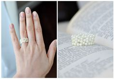 A DIY flower bead ring of pearls - love it!
