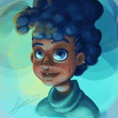 Black Women Art! – Little blue afro by LucyDoesArt
