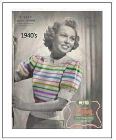 1940s Rainbow Sweater Knitting Pattern  Instant by MyVintageWish