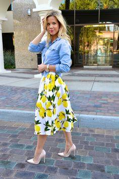 Fashion Blogger Hannah from glamlifeliving.com in Lemon Print Skirt and Denim Shirt